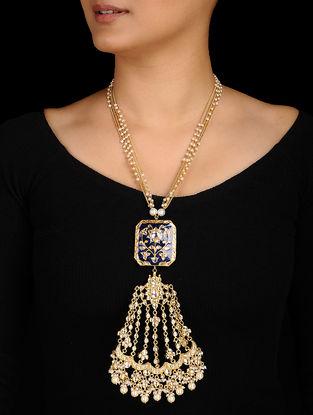 Blue Gold Tone Kundan Inspired Meenakari and Jadau Necklace