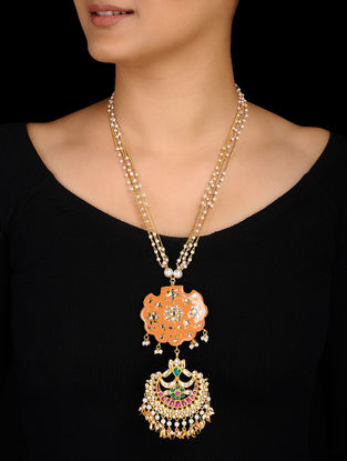 Peach Gold Tone Kundan Inspired Meenakari and Jadau Necklace