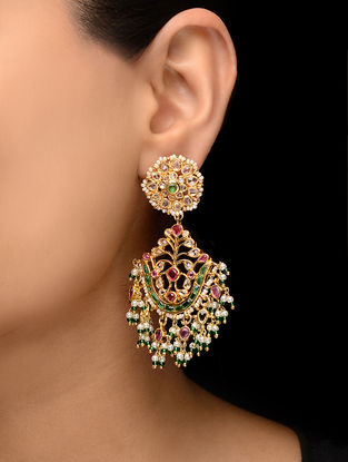 Pink-Green Glass Copper Earrings with Pearls