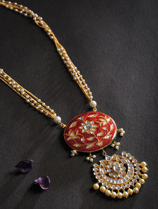 Red Kundan Inspired Meenakari Pearl Beaded Necklace
