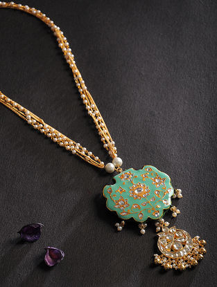 Green Kundan Inspired Meenakari Pearl Beaded Necklace