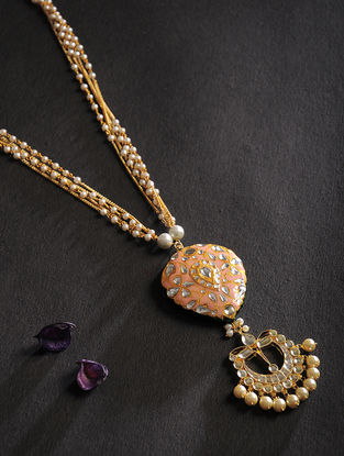 Peach Kundan Inspired Meenakari Pearl Beaded Necklace
