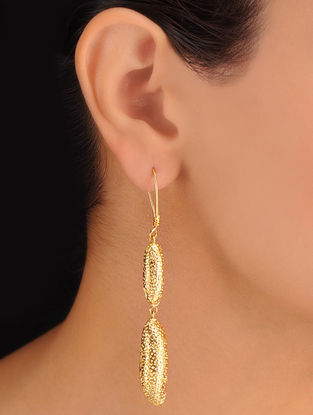 Pair of Double Drop Golden Earrings