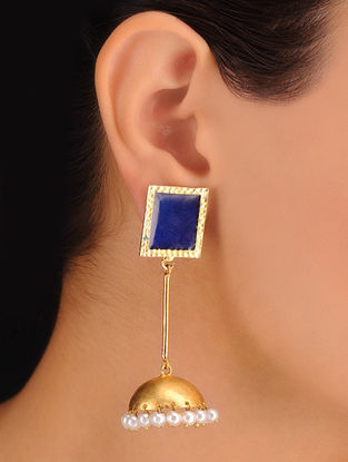 Pair of Square Indigo Earrings