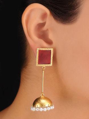 Pair of Square Maroon Earrings