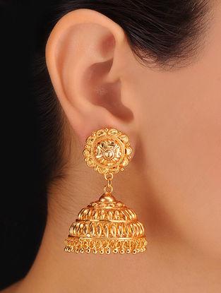 Pair of Floral Golden Earrings
