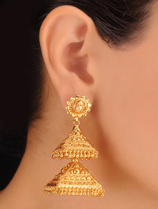 Pair of Floral Golden Earrings