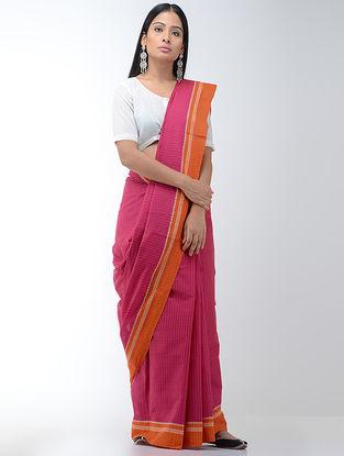 Pink-Orange Cotton Saree