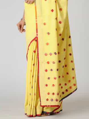 Yellow-Red Gamcha Patch-work Khadi Saree