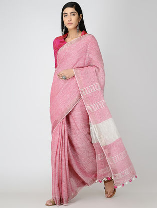 Pink-Ivory Linen Saree with Zari and Tassels