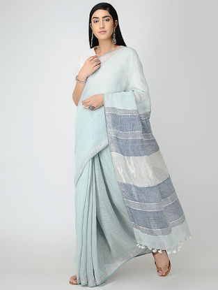 Turquoise-Blue Linen Saree with Zari and Tassels