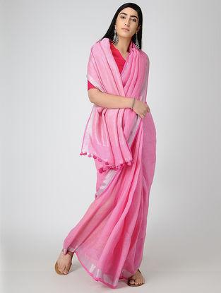 Pink Linen Saree with Zari and Tassels