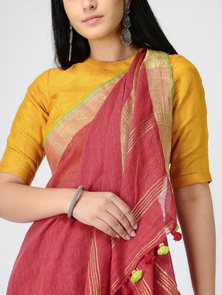 Red Linen Saree with Zari and Tassels
