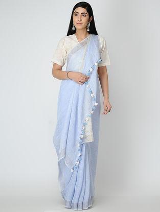 Blue Linen Saree with Zari and Tassels