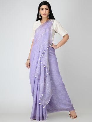 Purple Linen Saree with Zari and Tassels