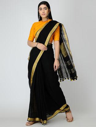 Black Linen Saree with Zari and Tassels