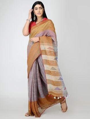 Purple-Brown Linen Saree with Tassels