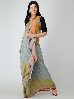 Grey-Orange Linen Saree