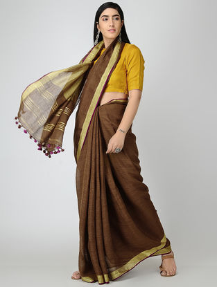 Brown Linen Saree with Zari and Tassels