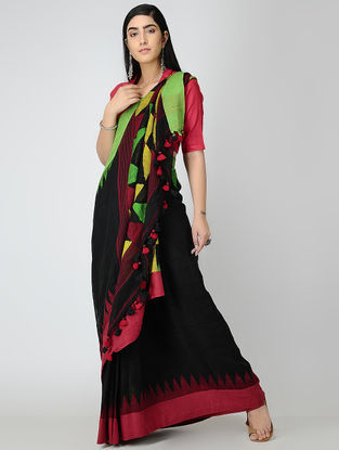 Black-Green Linen Saree with Tassels