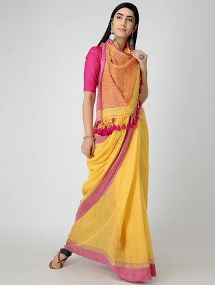 Yellow-Pink Linen Saree with Tassels