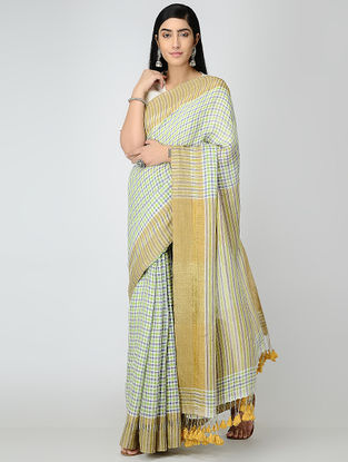 Ivory-Beige Checkered Linen Saree with Tassels