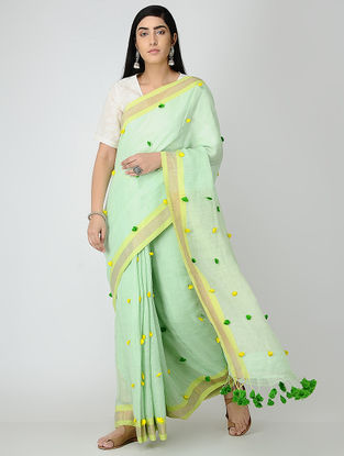 Green-Yellow Linen Saree with Zari Border and Tassels