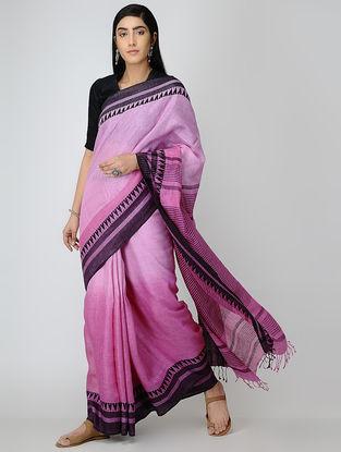 Pink-Black Linen Saree