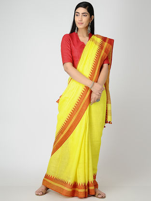 Yellow-Red Linen Saree with Tassels