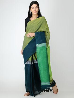 Green-Blue Linen Saree with Tassels