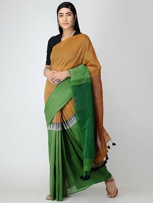 Brown-Green Linen Saree with Tassels