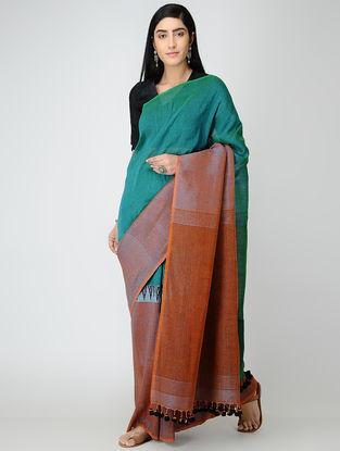 Green-Brown Linen Saree with Tassels