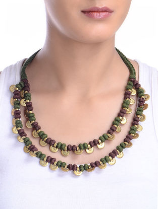 Hand-Knotted Two Line Brass Beads Necklace
