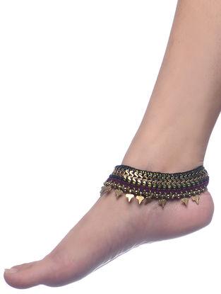 Burgundy-Green Thread Brass Anklets (Set of 2)