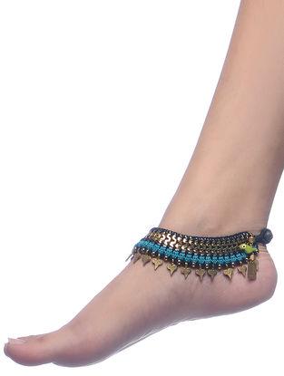 Blue-Black Thread Brass Anklets (Set of 2)
