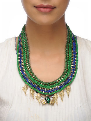 Green-Blue Thread Brass Necklace with Crystal