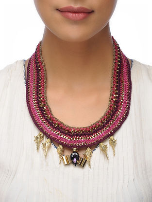 Pink Thread Brass Necklace with Crystal