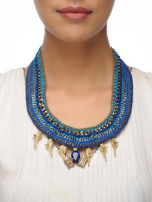 Blue Thread Brass Necklace with Crystal