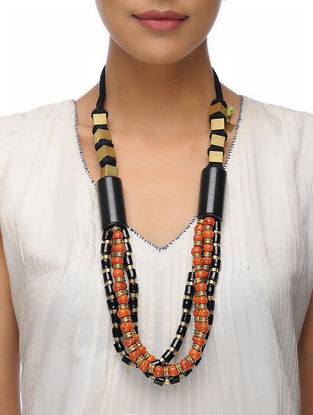 Black-Red Beaded Brass Necklace