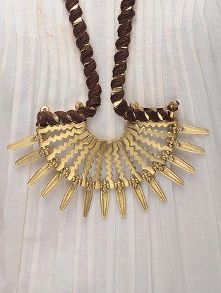 Brown Thread Brass Necklace