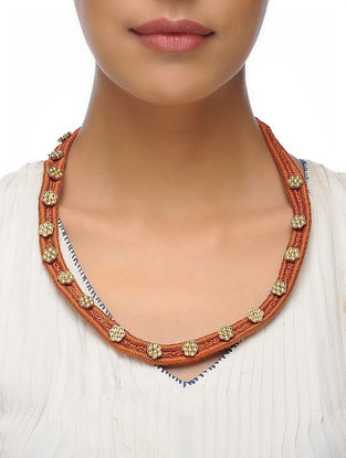 Rust Thread Brass Necklace with Floral Design