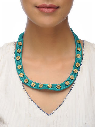 Blue Thread Brass Necklace with Floral Design
