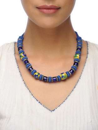 Blue Thread Ceramic Beaded Necklace