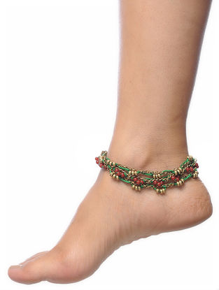 Green-Maroon Thread Anklet