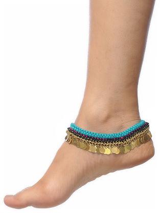 Blue Thread Brass Anklets (Set of 2)