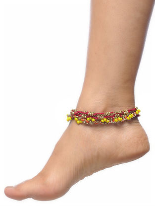 Red-Orange Thread Anklets (Set of 2)