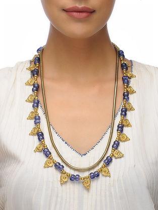 Blue Beaded Brass Necklace