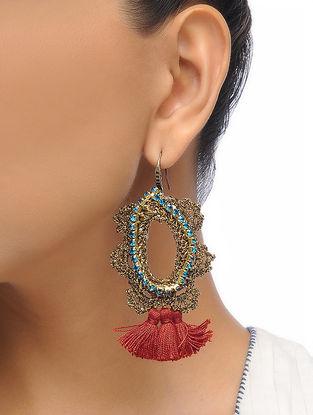 Crystal Brass Earrings with Zari