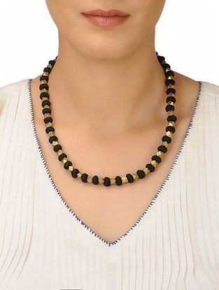 Black Thread and Brass Necklace