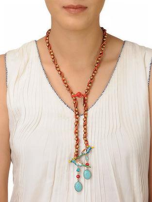 Orange Thread Brass Beaded Necklace with Bird Design